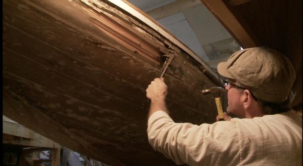 Removing rotten stern plank