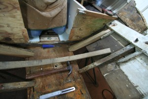 The piece on the right (port) will sister the frame going across the floor, which was steamed and bent yesterday.